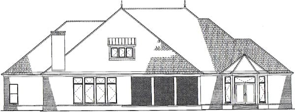 European Southern Traditional Rear Elevation of Plan 62132