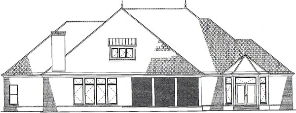European Southern Traditional House Plan 62132 Rear Elevation