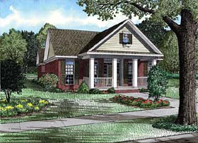 Colonial , Narrow Lot , One-Story , Southern House Plan 62138 with 3 Beds, 2 Baths, 2 Car Garage Elevation