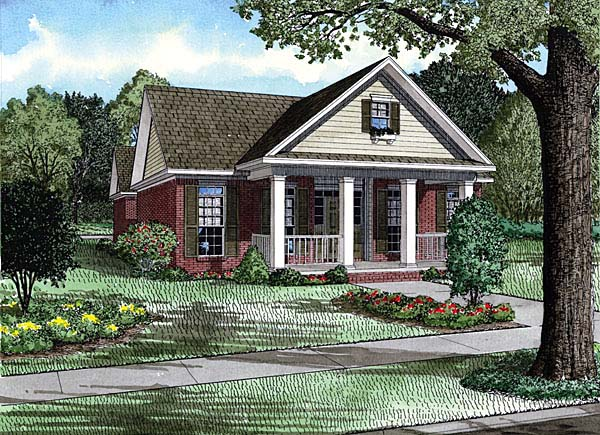 Colonial, Narrow Lot, One-Story, Southern House Plan 62138 with 3 Beds, 2 Baths, 2 Car Garage Elevation