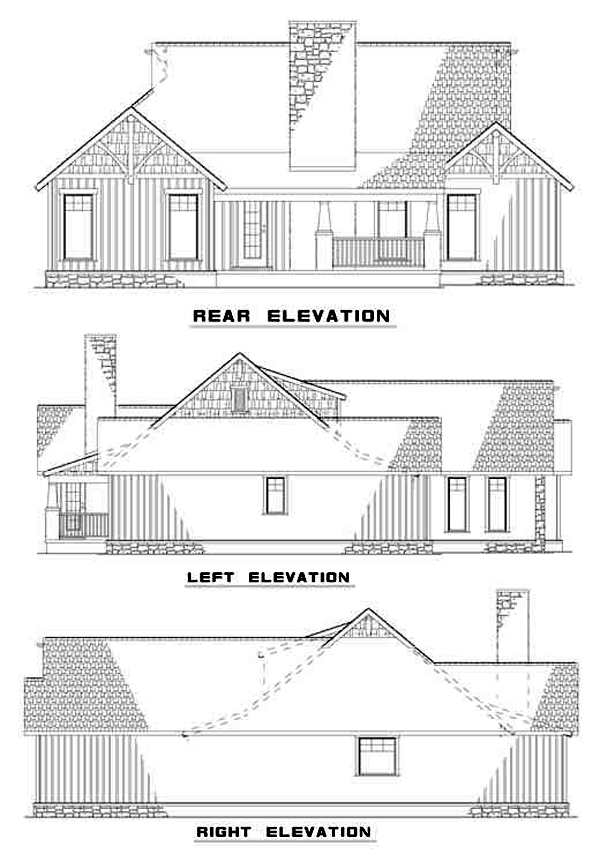 Bungalow Country Craftsman Tudor House Plan 62143 Rear Elevation