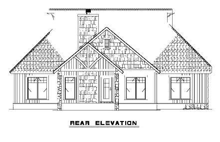 Bungalow Country Craftsman House Plan 62145 Rear Elevation