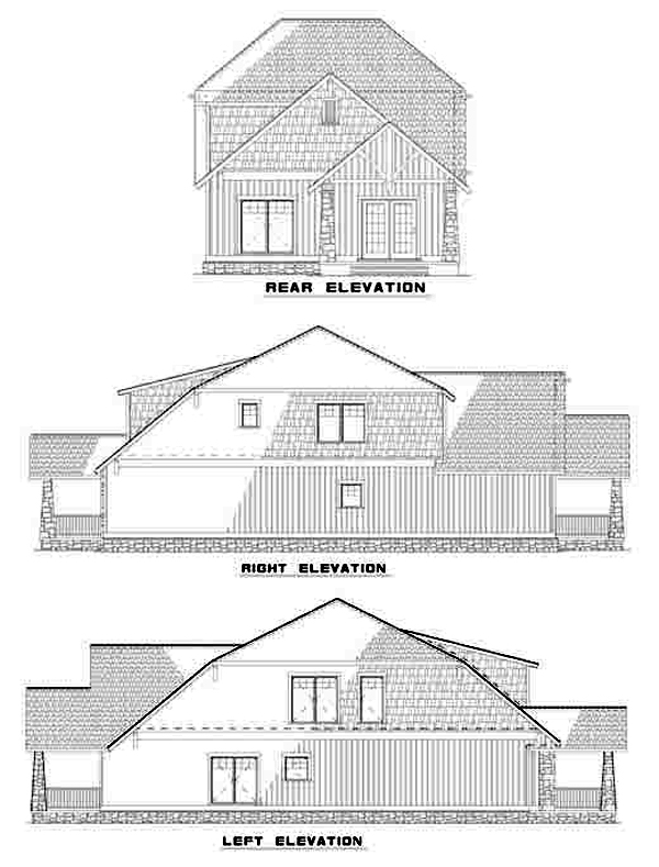 Bungalow Country Craftsman House Plan 62147 Rear Elevation