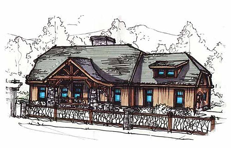 Bungalow Country Craftsman House Plan 62148 Elevation