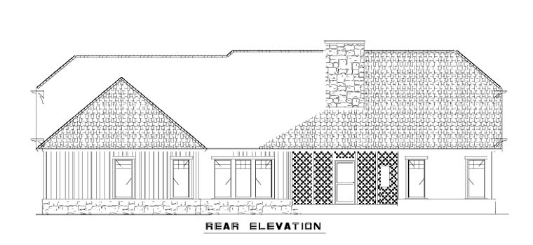 Bungalow Country Craftsman House Plan 62148 Rear Elevation