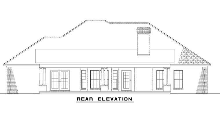European House Plan 62149 Rear Elevation