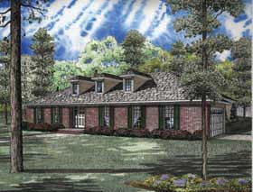 House Plan 62150 | Ranch Southern Traditional Style Plan with 2151 Sq Ft, 3 Bedrooms, 2 Bathrooms, 2 Car Garage Elevation
