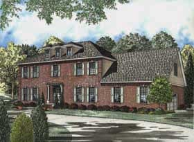Colonial Southern Elevation of Plan 62151
