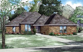 House Plan 62155 | Contemporary European Traditional Style Plan with 1797 Sq Ft, 3 Bedrooms, 2 Bathrooms, 2 Car Garage Elevation