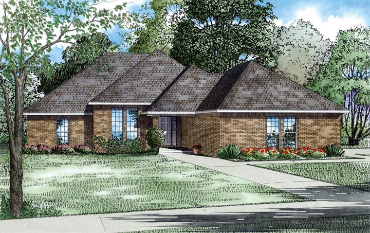 Contemporary, European, Traditional House Plan 62155 with 3 Beds, 2 Baths, 2 Car Garage Elevation
