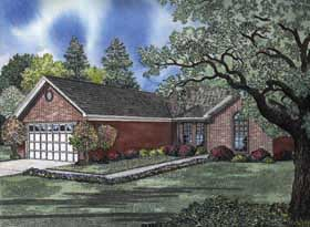 One-Story, Traditional House Plan 62156 with 3 Beds, 2 Baths, 2 Car Garage Elevation
