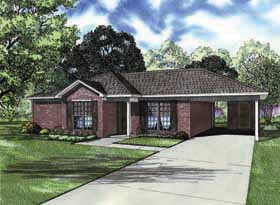 One-Story Ranch Traditional Elevation of Plan 62162