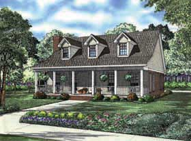 Country, Southern House Plan 62163 with 2 Beds, 2 Baths, 2 Car Garage Front Elevation