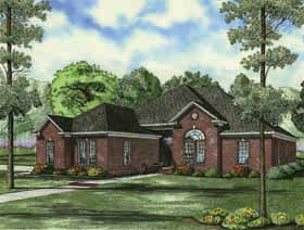 European , Traditional House Plan 62166 with 3 Beds, 2 Baths, 2 Car Garage Elevation