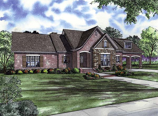 European House Plan 62168 with 3 Beds, 3 Baths, 2 Car Garage Elevation