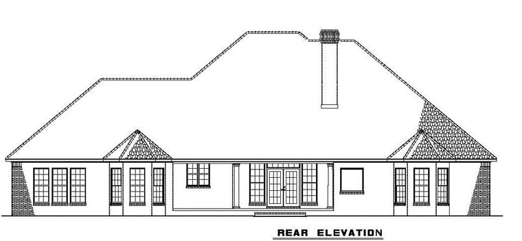 European, Traditional House Plan 62169 with 5 Beds, 4 Baths, 3 Car Garage Rear Elevation
