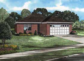 House Plan 62172 with 3 Beds, 2 Baths, 2 Car Garage Elevation