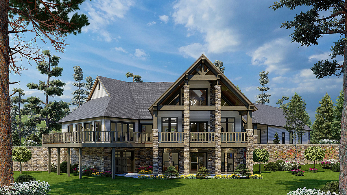 House Plan 62174 with 3 Beds, 4 Baths, 3 Car Garage Rear Elevation