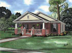 House Plan 62176 | Bungalow Style House Plan with 1256 Sq Ft, 3 Bed, 2 Bath, 2 Car Garage Elevation