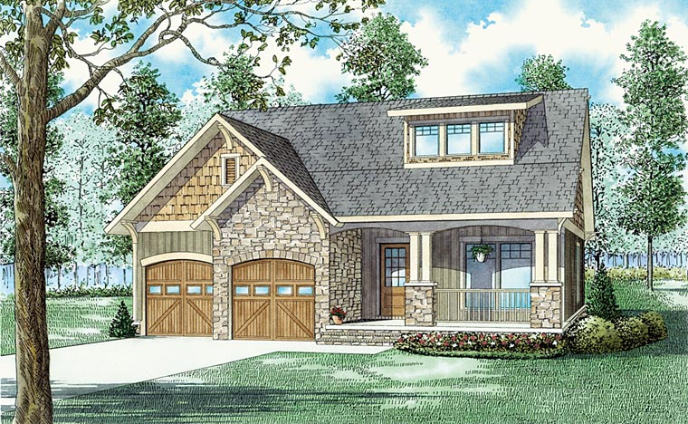 Bungalow, Country, Craftsman House Plan 62178 with 3 Beds, 3 Baths, 2 Car Garage Elevation