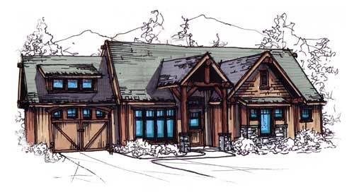 Bungalow , Cabin , Country , Craftsman House Plan 62182 with 3 Beds, 1 Baths, 1 Car Garage Elevation