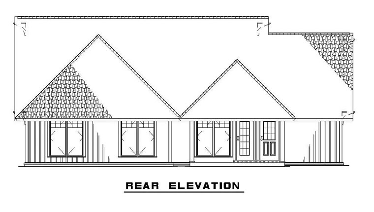 Bungalow , Cabin , Country , Craftsman House Plan 62182 with 3 Beds, 1 Baths, 1 Car Garage Rear Elevation
