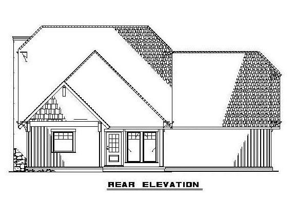 Bungalow, Country, Craftsman House Plan 62183 with 3 Beds, 3 Baths, 2 Car Garage Rear Elevation