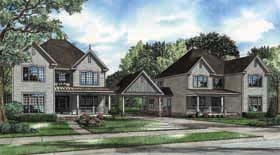 Country Farmhouse Southern Traditional Multi-Family Plan 62184 Elevation