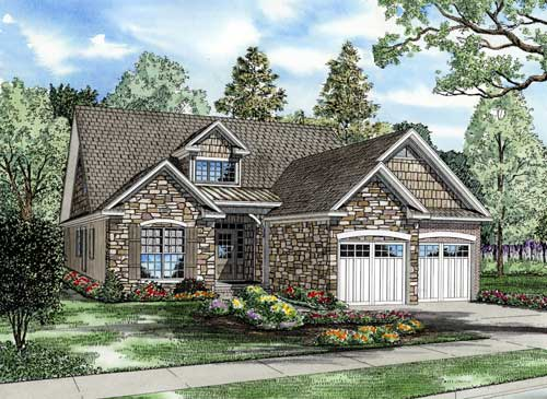 Bungalow, Traditional House Plan 62190 with 4 Beds , 3 Baths , 2 Car Garage Elevation
