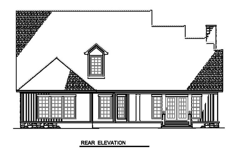 Bungalow Country Farmhouse Southern House Plan 62192 Rear Elevation