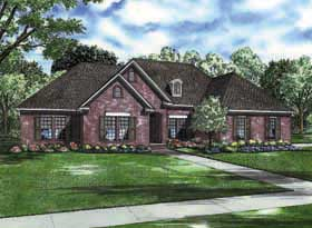 Traditional House Plan 62196 with 3 Beds, 3 Baths, 2 Car Garage Elevation