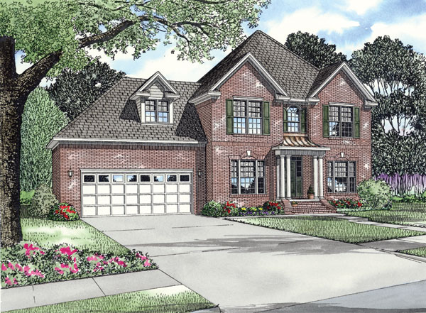 Colonial, Traditional House Plan 62200 with 3 Beds, 3 Baths, 2 Car Garage Front Elevation