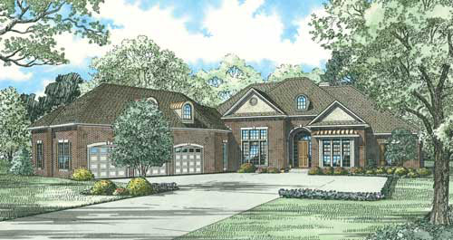 European House Plan 62205 with 4 Beds, 5 Baths, 3 Car Garage Elevation