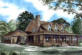 Farmhouse , Country House Plan 62207 with 4 Beds, 3 Baths, 3 Car Garage Elevation