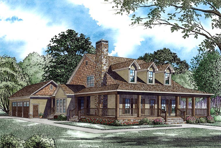 Farmhouse, Country, House Plan 62207 with 4 Beds, 3 Baths, 3 Car Garage Elevation