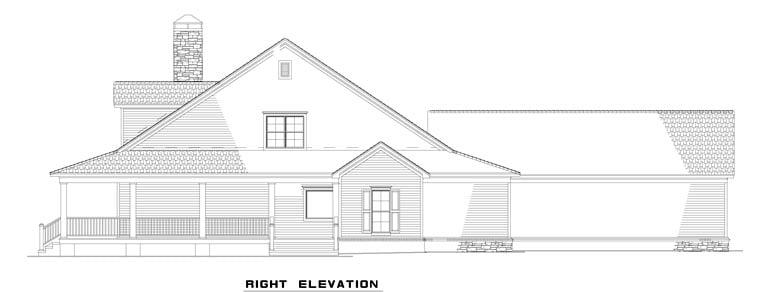 Rear Elevation Plan : Country farmhouse house plan