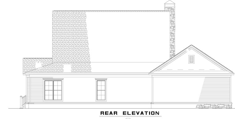 Farmhouse, Country, House Plan 62207 with 4 Beds, 3 Baths, 3 Car Garage Rear Elevation