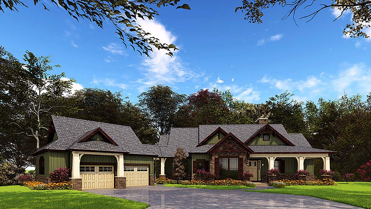 House Plan 62209 with 4 Beds, 5 Baths, 2 Car Garage Elevation