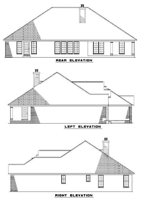 European Traditional Rear Elevation of Plan 62211