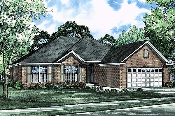 House Plan 62212 with 3 Beds, 2 Baths, 2 Car Garage Elevation