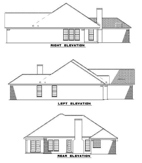 House Plan 62212 with 3 Beds, 2 Baths, 2 Car Garage Rear Elevation
