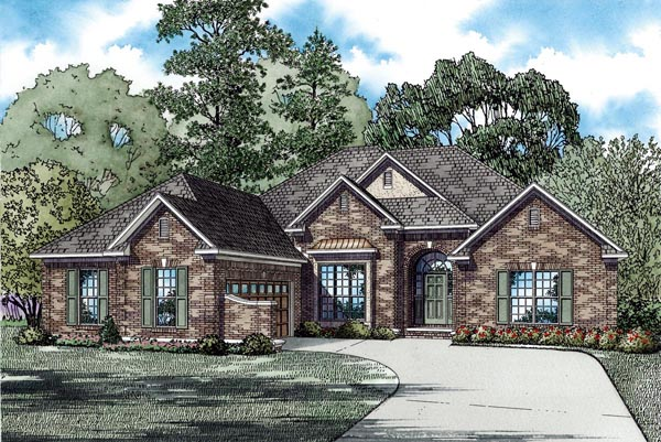 One-Story House Plan 62213 with 4 Beds, 2 Baths, 2 Car Garage Front Elevation