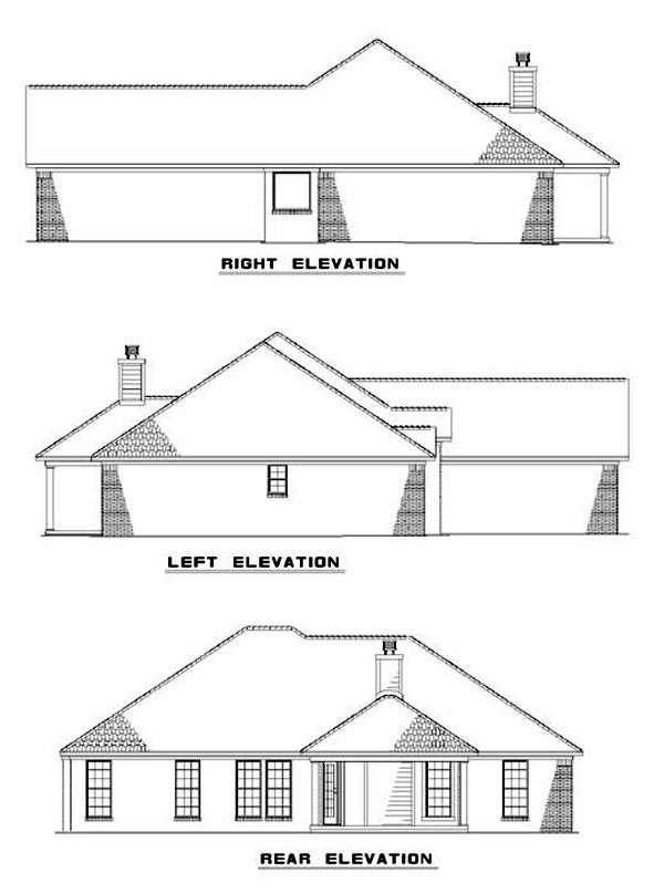 European Traditional Rear Elevation of Plan 62219