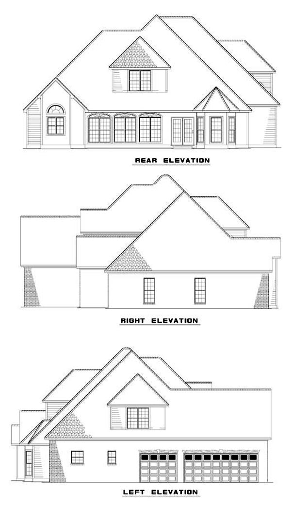 Rear Elevation of Plan 62221
