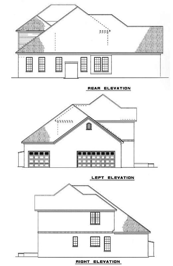 House Plan 62223 with 4 Beds, 4 Baths, 3 Car Garage Rear Elevation
