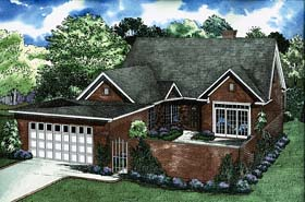 House Plan 62225 with 4 Beds, 3 Baths, 2 Car Garage Elevation