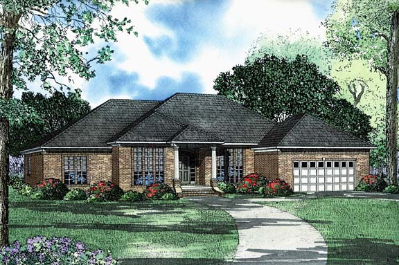 One-Story House Plan 62228 with 3 Beds, 3 Baths, 2 Car Garage Elevation