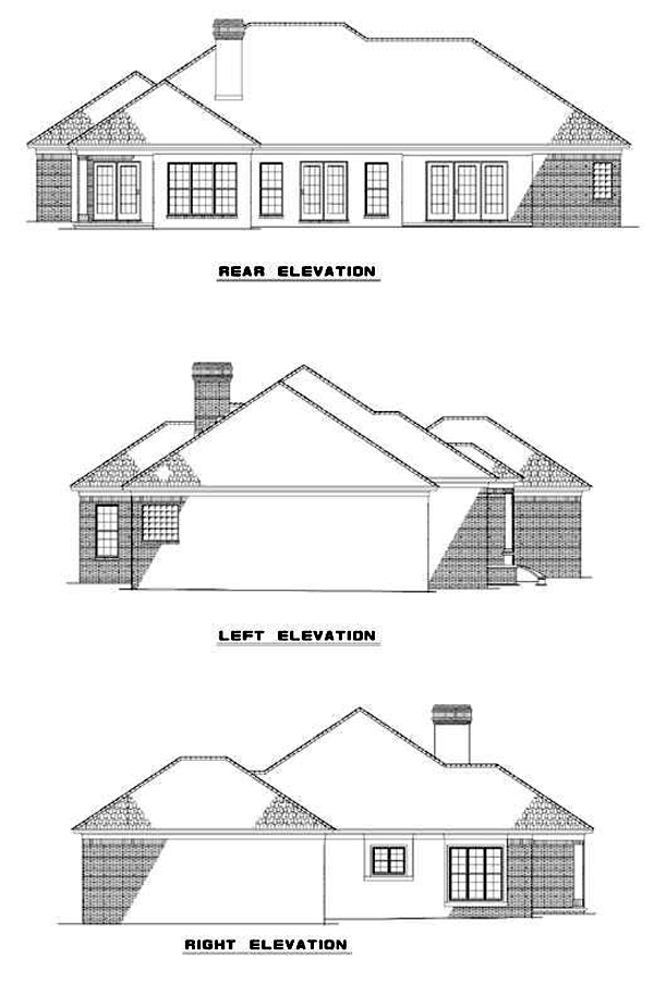One-Story Rear Elevation of Plan 62228