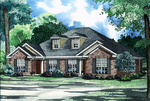 One-Story Multi-Family Plan 62229 with 4 Beds, 4 Baths Front Elevation