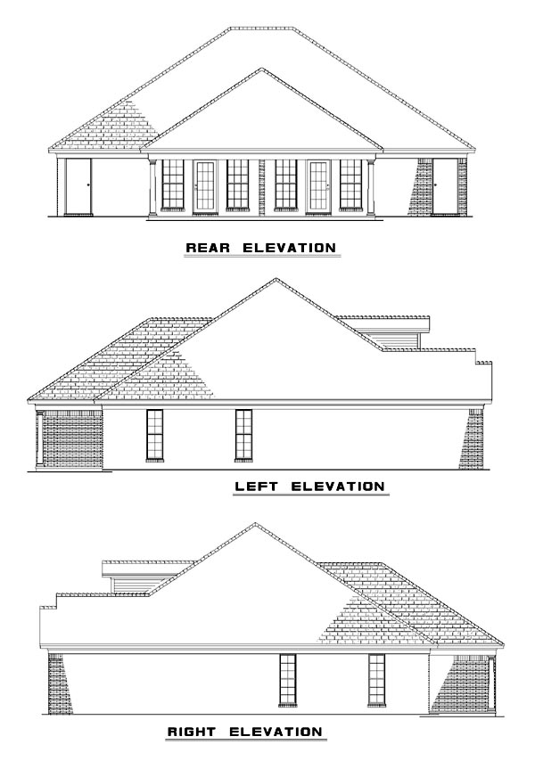 One-Story Multi-Family Plan 62229 with 4 Beds, 4 Baths Rear Elevation